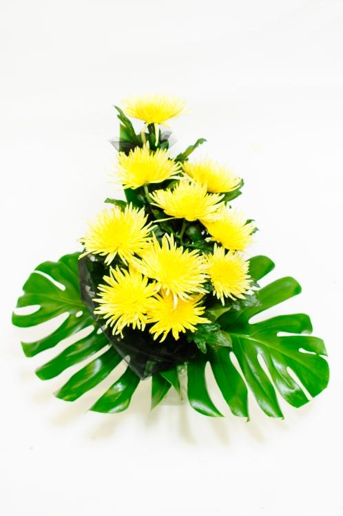 Vázaná kytice - jehlicovité chryzantémy, orientační cena - 850Kč
