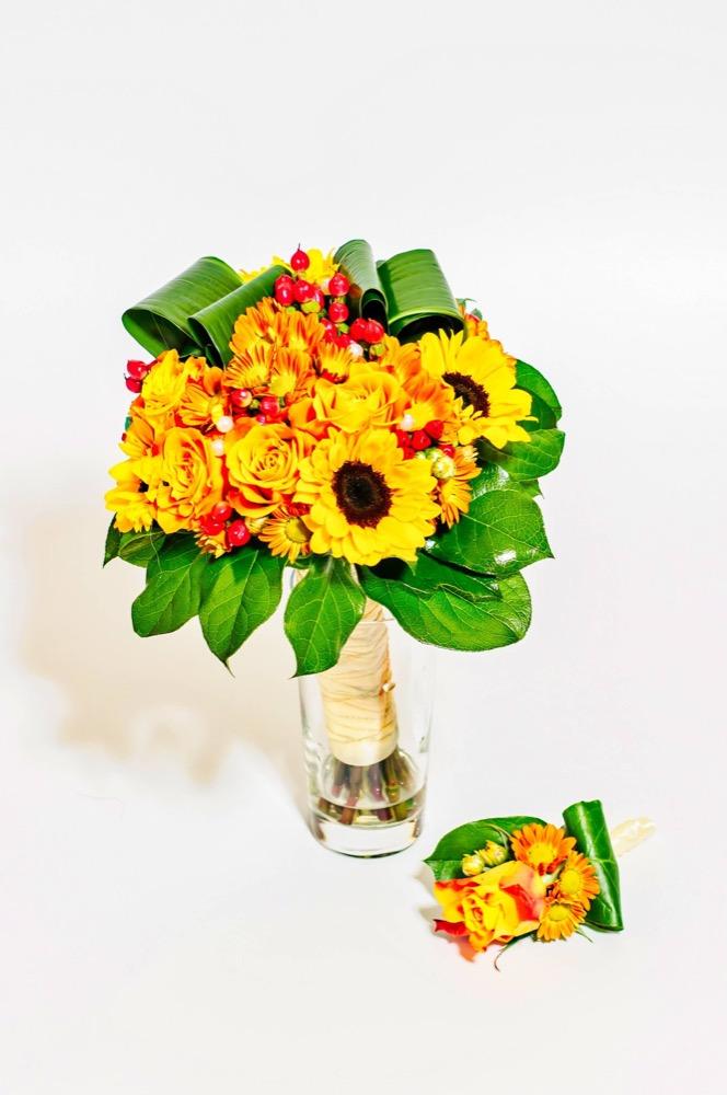 Svatební kytice - slunečnice