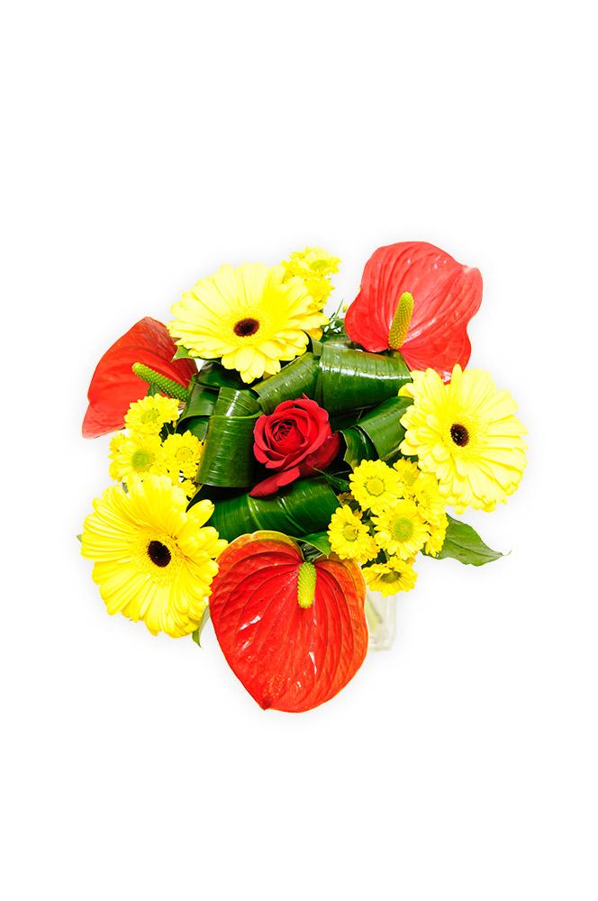 Anthurium s gerberami a růží