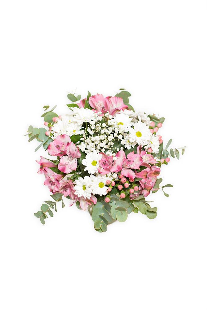 Bílé kopretiny a růžové alstromerie