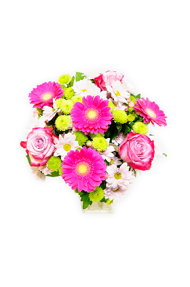 Růže, gerbery a santini v jemné kombinaci