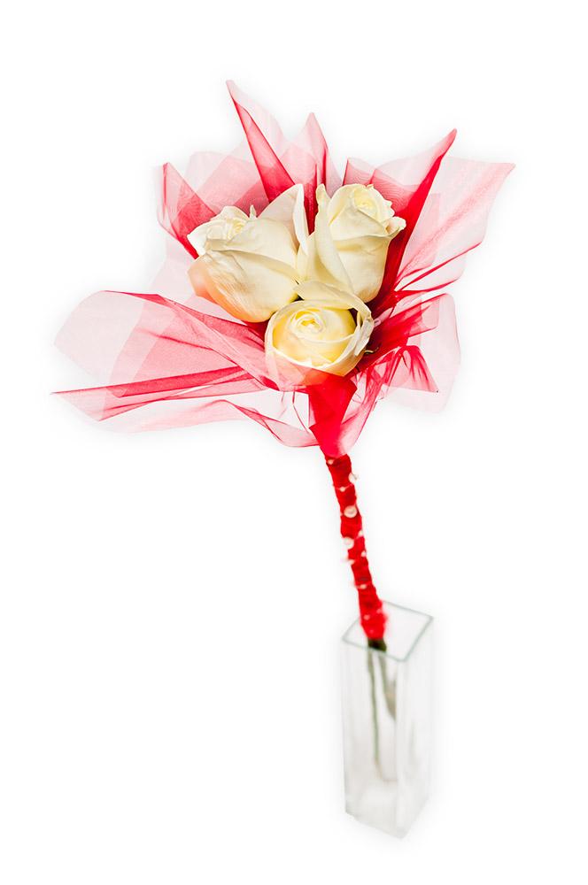 Tři bílé růže v jasné červené