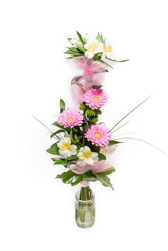 Růžové gerbery a alstromerie