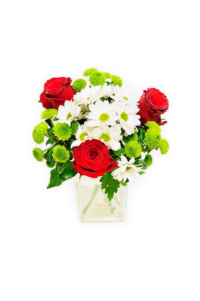 Rudé růže a kopretiny