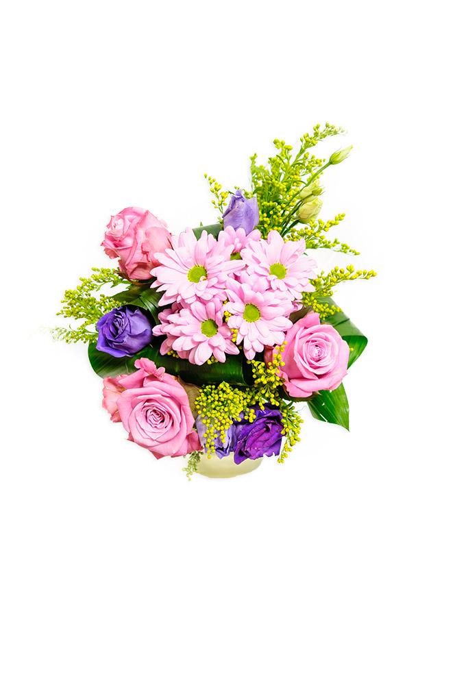 Růže, kopretiny a eustomy
