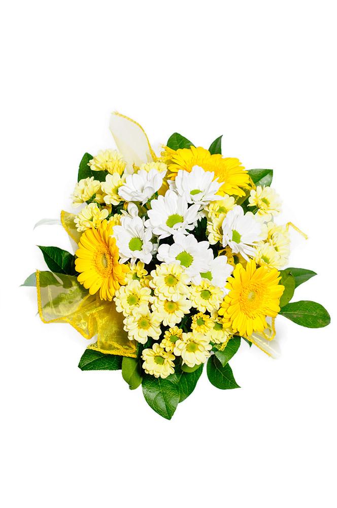 Kopretiny a gerbery v odstínech žluté a bílé