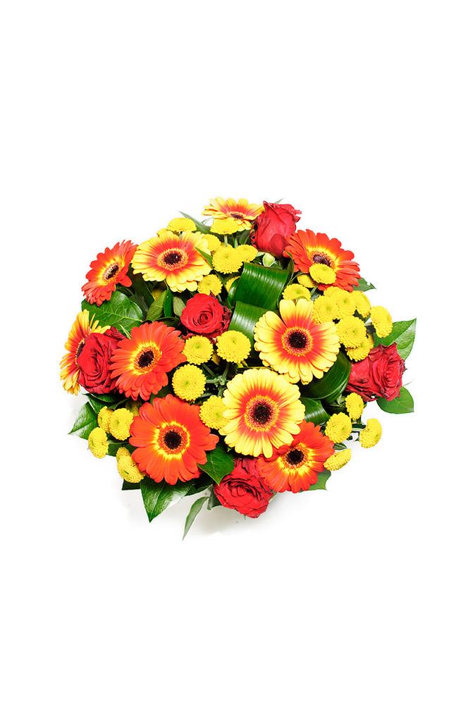 Gerbery, růže a chryzantémy v ohnivé barvě