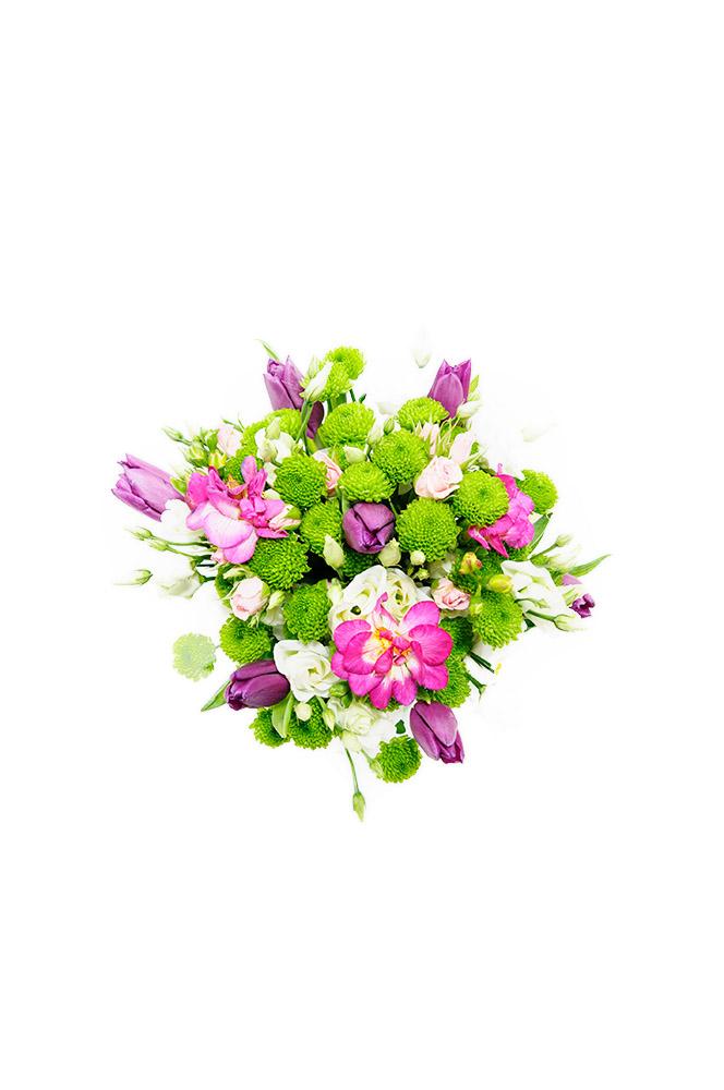 Eustomy, santini a tulipány v růžové kombinaci