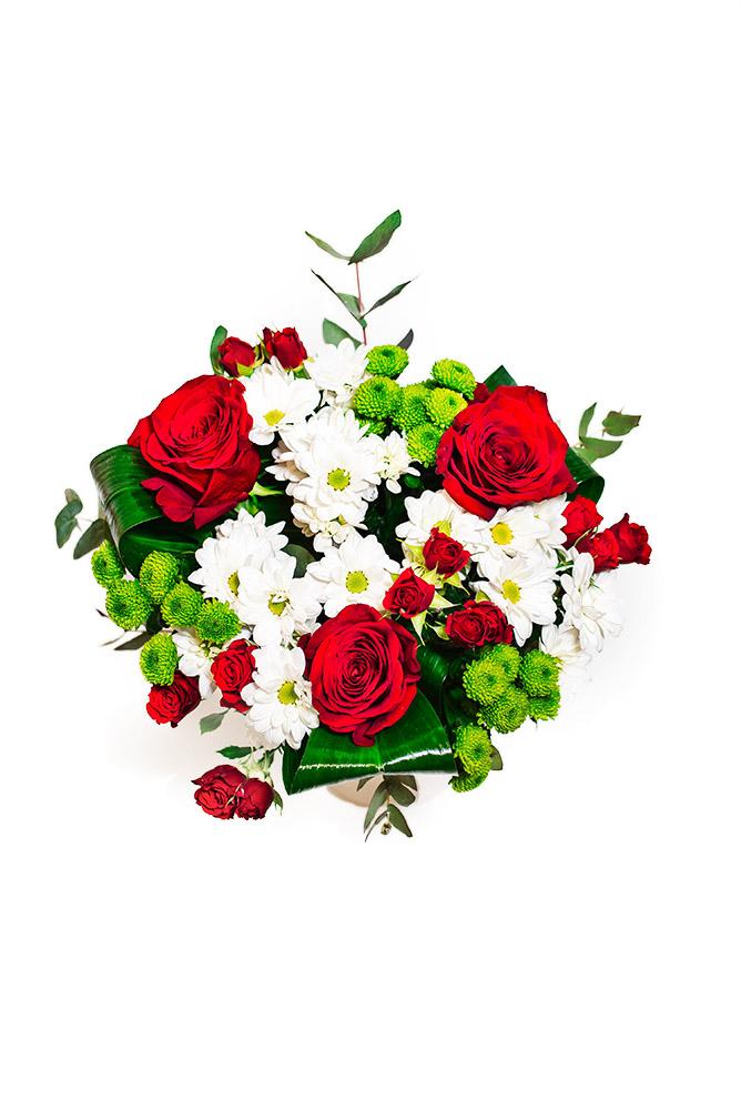 Červené růže a bílé kopretiny