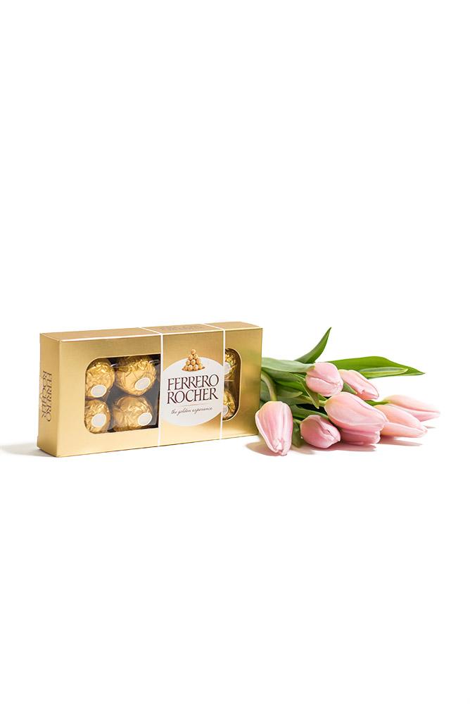 Růžové tulipány a Ferrero Rocher