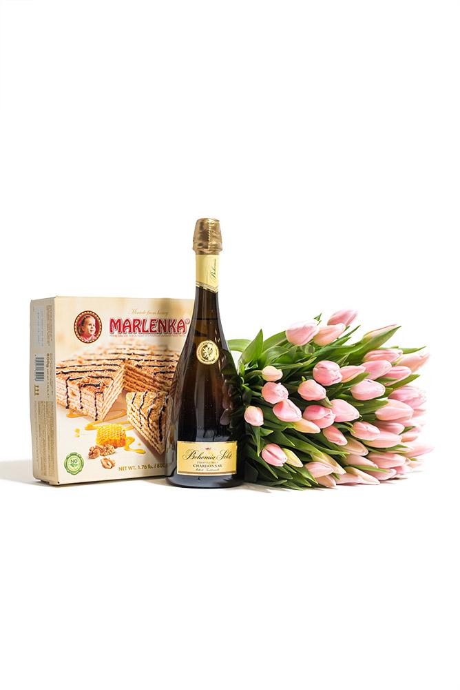 Růžové tulipány, Bohemia Sekt Prestige a Marlenka