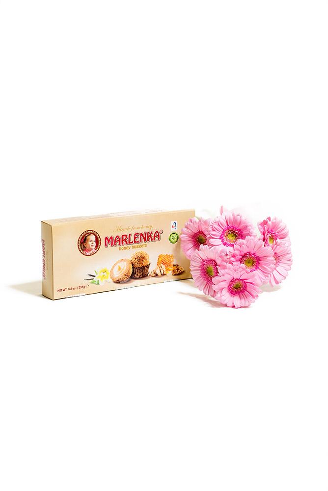 Růžové gerbery + Marlenka kuličky