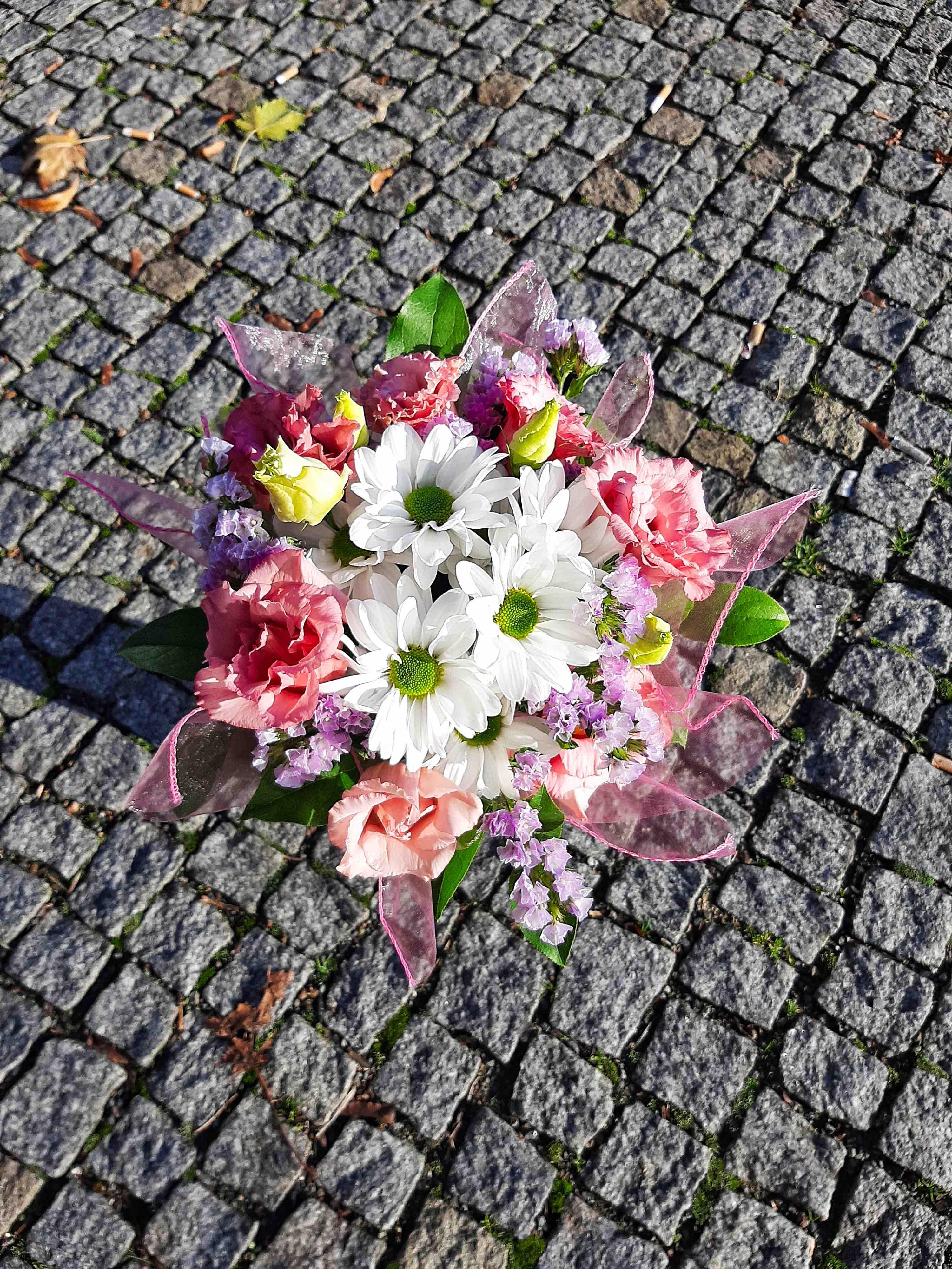 Kopretiny s růžovými eustomami