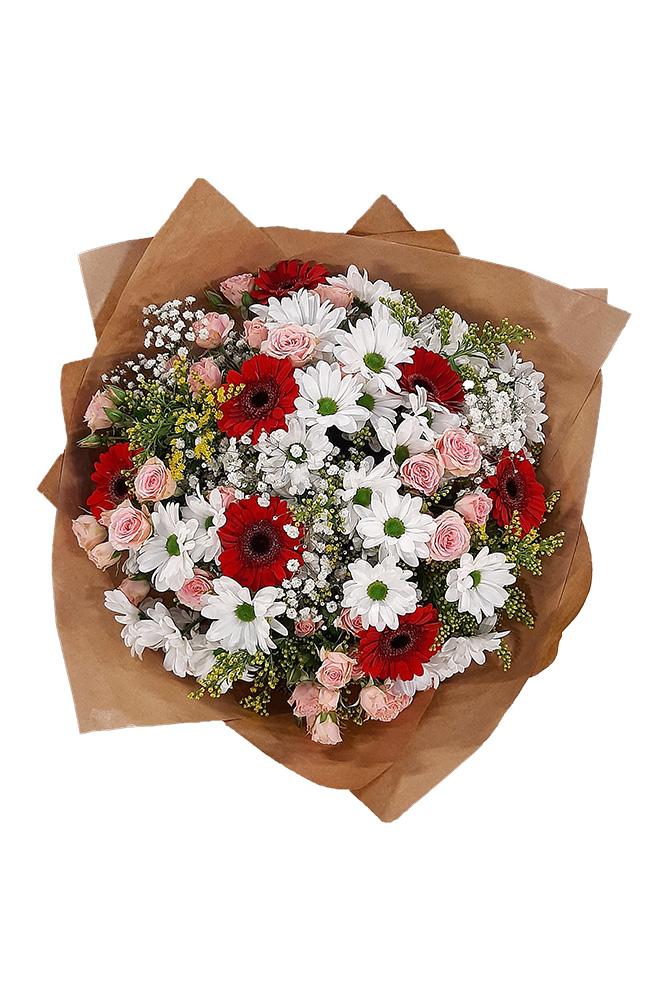Červené gerbery, kopretiny a trsové růže
