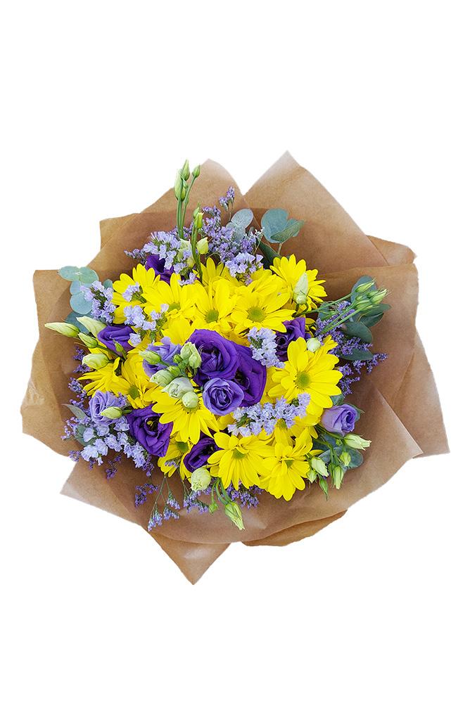 Žluto fialová kytice eustom a chryzantém