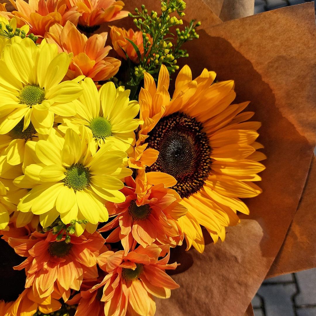 Žluto oranžová kombinace slunečnic a chryzantém