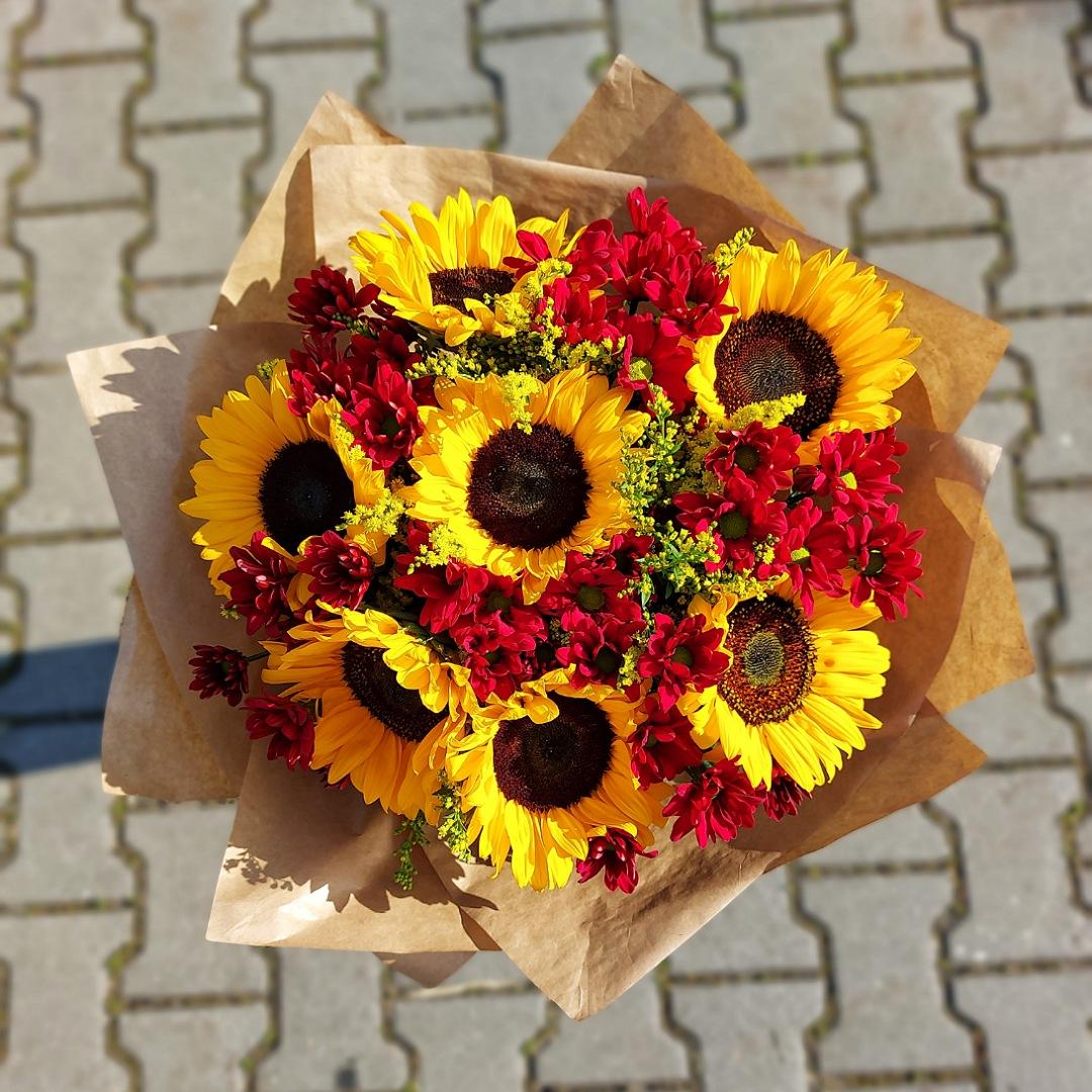 Slunečnice a červené chryzantémy