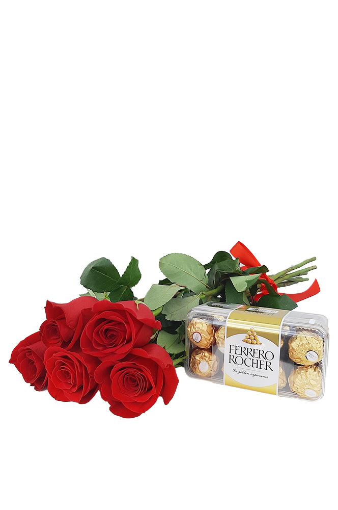 5 RŮŽÍ a krabička Ferrero Rocher