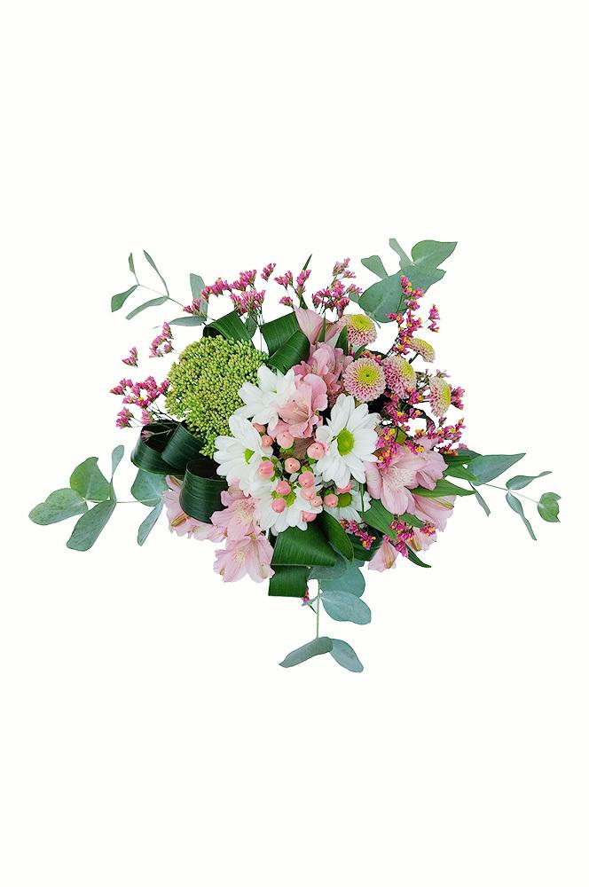 Chryzantéma, santini, alstromerie a eukalyptus