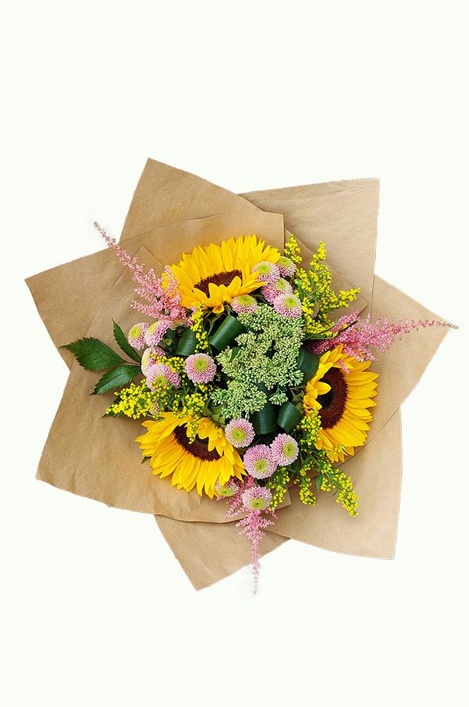 Slunečnice a růžové santini