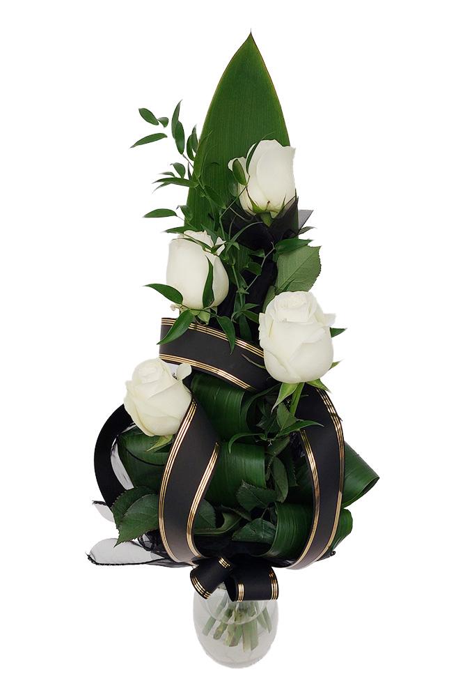 Smuteční kytice - Bílé růže S
