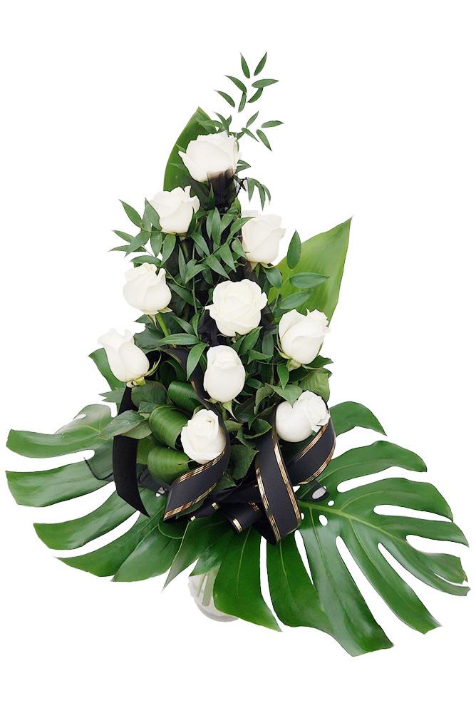 Smuteční kytice - Bílé růže L