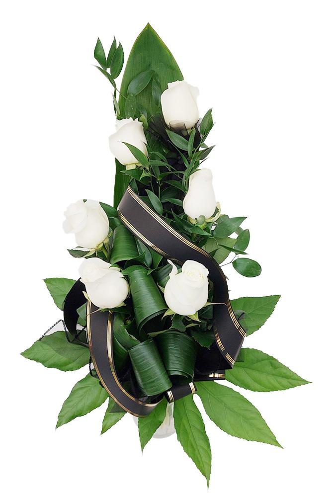 Smuteční kytice - Bílé růže M